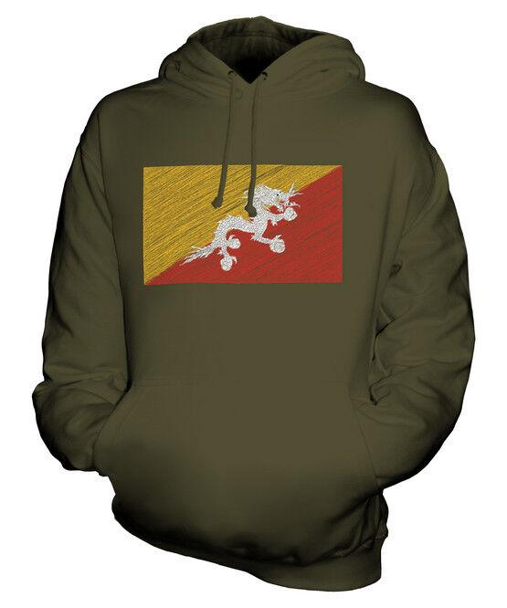BHUTAN SCRIBBLE FLAG UNISEX HOODIE TOP GIFT DRUK YUL BHUTANESE