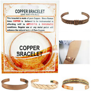 Copper-Pain-Relief-Healing-Therapy-Arthritis-Cuff-Bracelet-Bangle-Women-Men