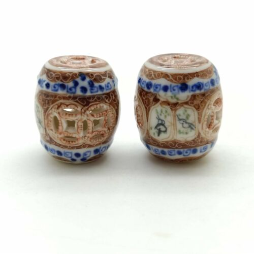 2 Chair Seat Ceramic Chinese Porcelain Garden Painted Size S DM074