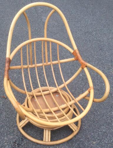Vtg Boho Tiki Bamboo Cane Bent Wood Swivel Egg Shape Chair Chic Leather Details