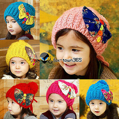 Toddlers Girls Baby Child Kids bow-knot knitting wool Beanies Hat Cap Hats 1-7Yr