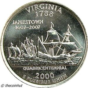 2000-D-BU-Virginia-State-Washington-Quarter-Coin-Statehood-US-Coins-CH4847