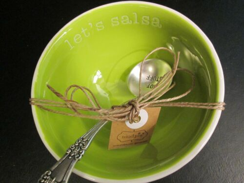 """/""""Let/'s Salsa/"""" NWT Salsa Serving Bowl and Spoon by Mud Pie"""