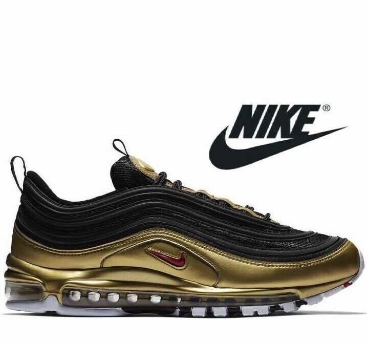 2019 Authentic Nike Air Max 97 ® (Taille UK 6 EUR 40) Or noir rouge Nouveau
