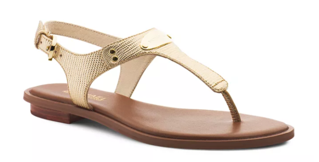 e1191f1b616b4 Michael Kors MK Plate Thong Pale Gold Metallic Leather Sandal Women sizes  5-11!!