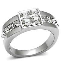Tk487pb Signet Princess Mens Simulated Diamond Mans Ring Stainless Steel 316l