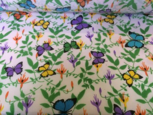 Turquoise Yellow Butterfly  Poly Cotton Dress Fabric 112 cm wide Mauve