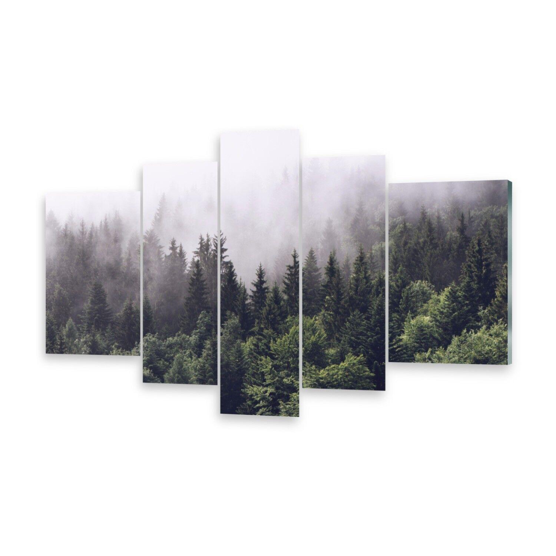 Mehrteilige Bilder Glasbilder Wandbild Bergwald