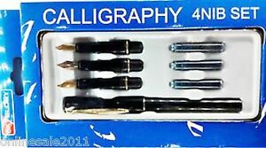Calligraphy-Fountain-Pen-Set-4-Nibs1-Pen-22-Carat-Gold-Plated-3-Cartri-Free-Ship