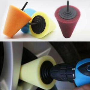 Foam Cone Shaped Sponge Polishing Pads for Car Wheel Hub-Use Power Drill Tool US