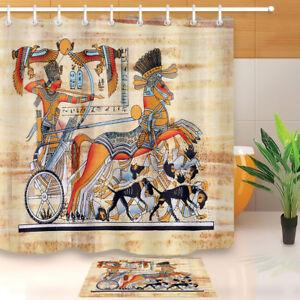Ancient Egypt Pharaoh Mural Shower Curtain Waterproof Polyester Bath Mat/&Hooks