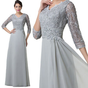 Grey VINTAGE Bride Mother Guest Dresses Long Formal Evening Bridesmaid Prom Gown