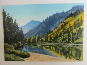 ACEO-Original-Acrylic-Painting-Landscape-Autumn-on-the-Mountain-Side-Joan-Hutson