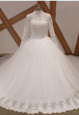 UK High Neck White/ivory 1M Train Long Sleeve Lace Muslim Wedding Dress Sz 6-18