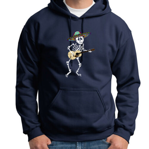 SKELETON Playing Guitar Funny Mexican Sombrero Tee Halloween Hoodie Sweatshirt