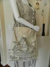 HEIRLOOMS OOAK magnolia floral doily grain sack pearl button messenger bag