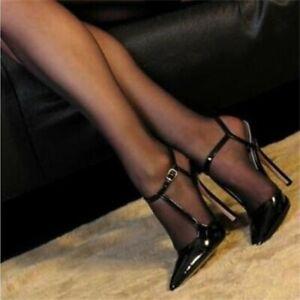 Women-039-s-Shoes-Pointed-Toe-Stiletto-Heels-Sandals-T-strap-Buckle-Nightclub-Pumps