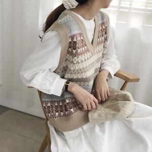 Women-Knitted-Vest-Tank-Tops-Sweater-Waistcoat-Sleeveless-V-neck-Geometric-Retro
