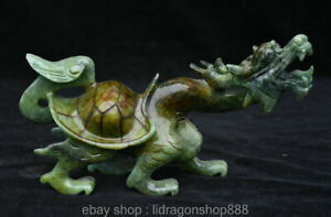 24CM-Chinois-Xiu-Jade-Feng-Shui-Sculpture-Dragon-Tortue-Tortue-Statue