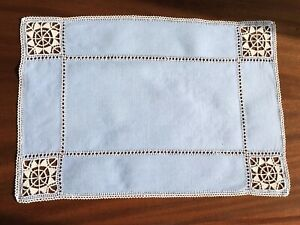 VINTAGE-LEFKARA-HAND-EMBROIDERED-BLUE-LINEN-TABLE-CENTRE-CLOTH-16-5X11-INCHES