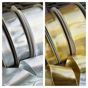 Gold or Silver metallic lurex ribbon wired edge 15 1M FREE!! 25 or 40mm x 1M
