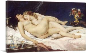 ARTCANVAS Two Friends Indolence Lust Lesbian Canvas Art Print Gustave Courbet
