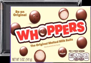 Whoppers candy METAL refrigerator fridge locker magnet-30% larger #2259