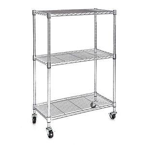Heavy Duty Chrome 3 Tier Wire Shelving Rack Cart Unit w/Casters Shelf Wheels