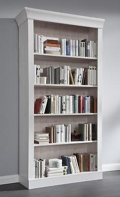 Bücherregal Bibliothek Bücherwand küchen Regal Wandregal kiefer massiv holz weiß