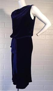 BCBG-BCBGMAXAZRIA-Navy-Velvet-Cowl-Backless-Cocktail-Formal-SZ-XS-Extra-Small