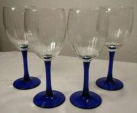 4 Cobalt Blue Stem Rib Optic Wine Glasses EXC!