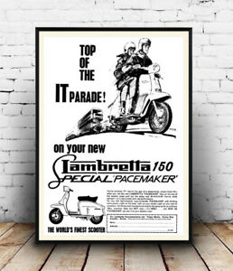 Lambretta-150-Vintage-motor-Scooter-advert-Wall-art-poster-Reproduction