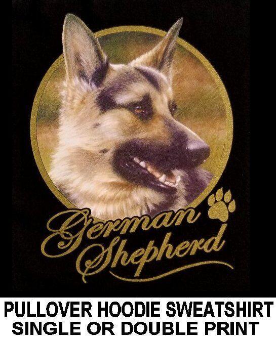 VERY CLASSY GERMAN SHEPHERD DOG ART GOLD LETTERING PULLOVER HOODIE SWEATSHIRT