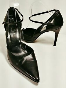 4855b1450441 GUCCI Black Leather Ankle Strap Pointed Toe Hi-Heel Pumps Women s ...