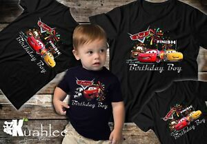 Details About Disney Cars 3 Lighting McQueen Personalized Birthday Party Boy Shirt Family Bir
