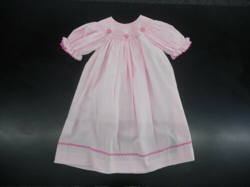 6 Infant Toddler /& Girls Mom /& Me Pink W//T Bunnies Smock Dress Sizes 12Mt