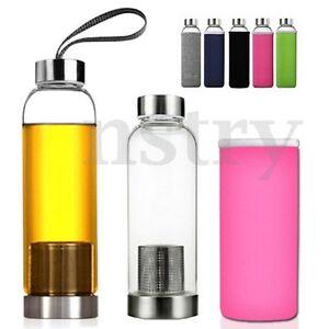 550ML Glass Juice Tea Water Bottle Drink + Filter Infuser Cup Mug BPA Free AU