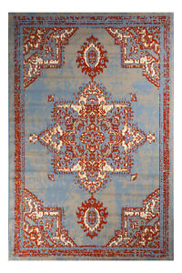 Distressed-Bohemian-2-039-x4-039-Light-Blue-Transitional-Moroccan-Oriental-Rug-512