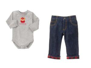 NWT-Gymboree-SNOW-COZY-Sz-18-24-M-Mommy-039-s-Hero-Bodysuit-amp-Cuffed-Jeans-NEW