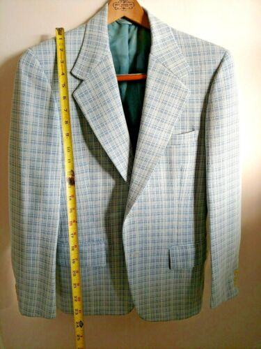 Vintage White Blue Suit Jacket Sport Coat Slacks S