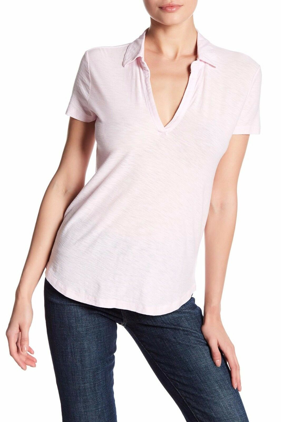 NWT JAMES PERSE Sz2(M) CURVED HEM SHORT SLEEVE POLO JERSEY TOP RosaWATER