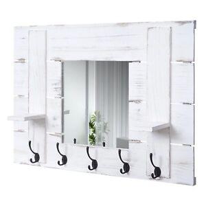 Details zu Wandgarderobe MCW-C89 mit Spiegel, Garderobe, Vintage, 90x60cm,  weiß, shabby