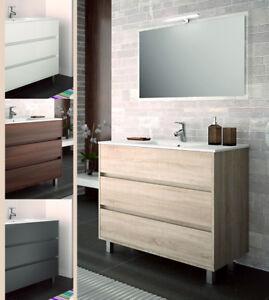 Arredo Bagno Legno Moderno.Arredo Bagno Mobile 100 Moderno Legno Lavabo Ceramica Specchiera Lampada Design Ebay