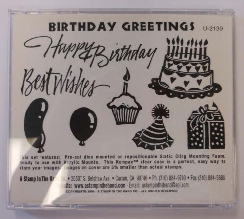 Birthday Greetings cling mounted rubber stamps