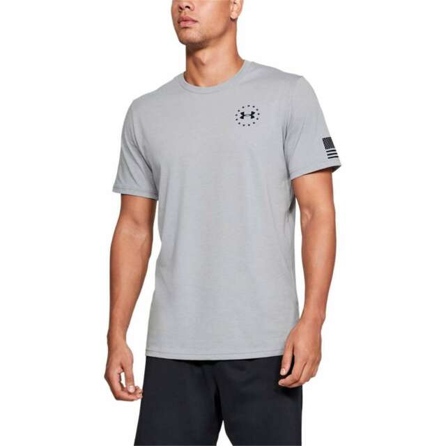 Under Armour 1333354035LG Freedom Chest Mens LG Gray S//S T-Shirt