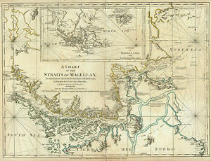 1776-Map-Chart-Of-The-Straits-Of-Magellan-Chile-Argentina-Poster-Vintage-History
