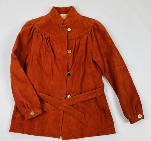 VTG 70s Womens Medium Suede Leather Belted Button… - image 1