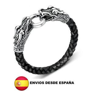 3de06750253e La imagen se está cargando Pulsera-vikinga-dragon-cuero-tibetano-moda-unisex -hombre-