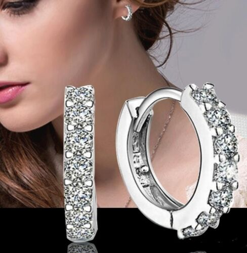 001 Neu Creole Damen Ohrringe 925 Silber Plattiert Zirkonia Steinchen Strass