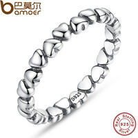 Luxury 925 Sterling Silver Hearts Ring Fashion Jewelry For Women Christmas Gift